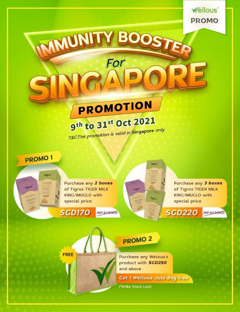 Singapore wellous tigrox imuglo Package Promotion